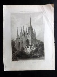 Britton 1830 Antique Print. Peterborough Cathedral & Part of the Palace